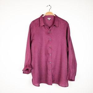J. Jill • Mauve Purple 100% Linen Button Front Top